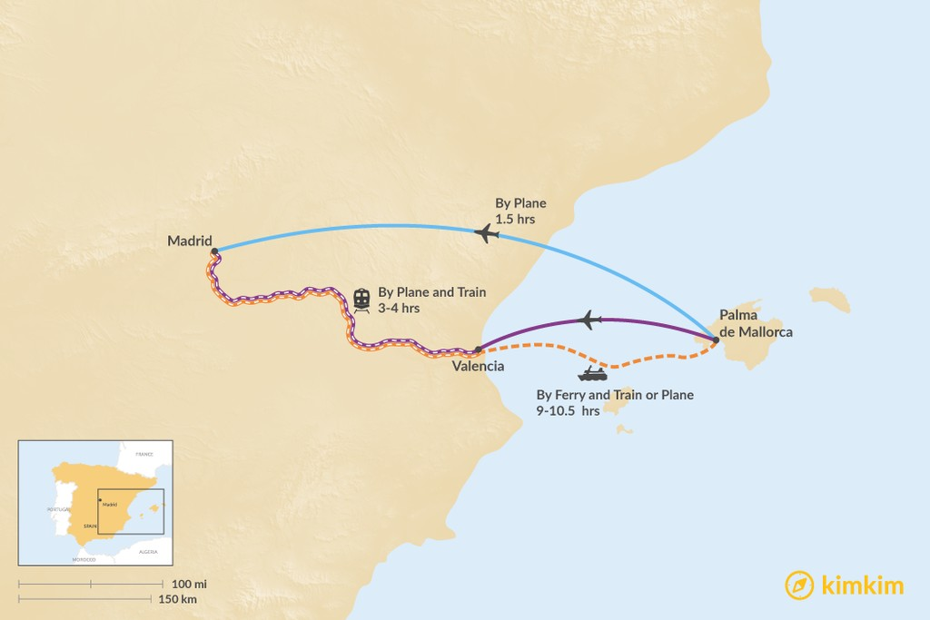 Map of How to Get from Palma de Mallorca to Madrid