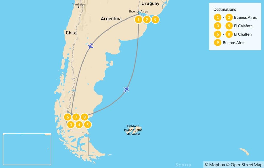 Map of Los Glaciares & Fitz Roy - 9 Days