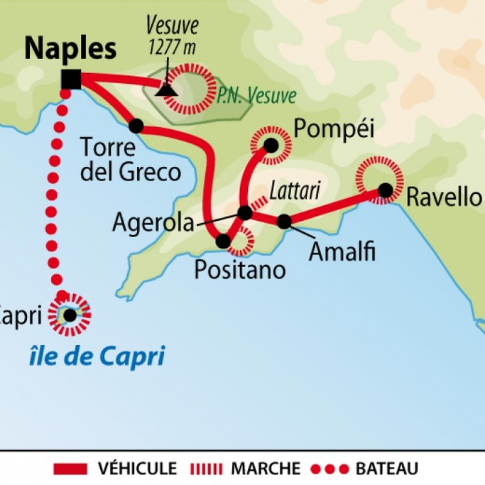 Map of Hiking in Naples and the Amalfi Coast - 7 Days