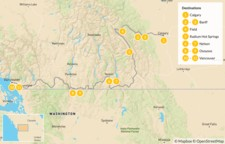 Map thumbnail of Canadian Rockies to Vancouver: Banff, Radium, Nelson, & Osoyoos - 12 Days