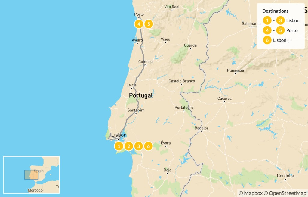 Map of Best of Lisbon & Porto - 7 Days