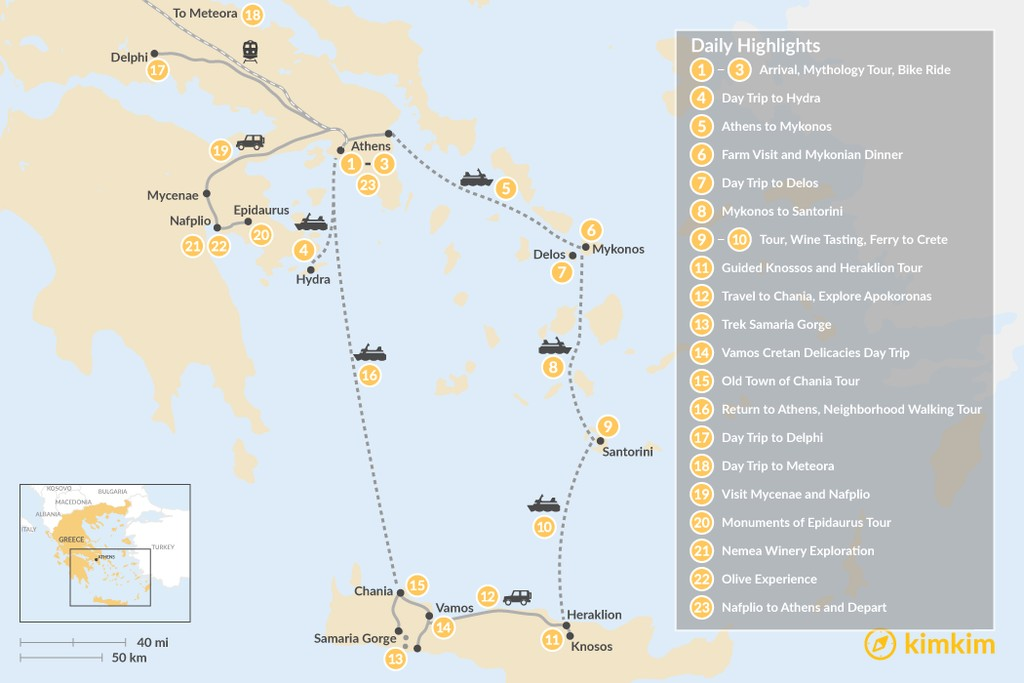 Map of Greek Panorama: Athens, Mainland Greece, Cyclades, and Crete - 23 Days