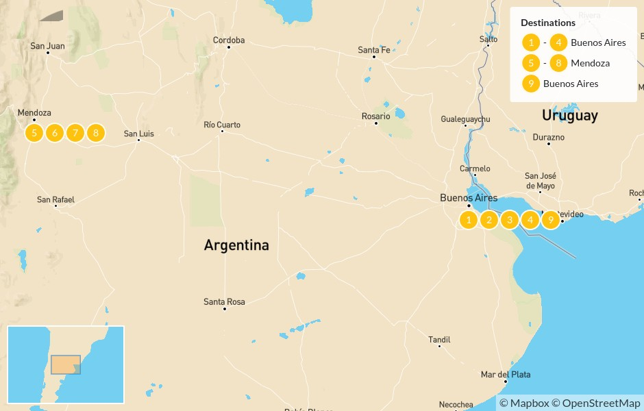 Map of Argentina Food & Wine - 10 Days
