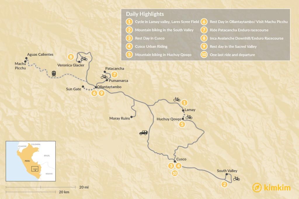 Map of Epic Peruvian Mountain Bike Trip - 13 Days