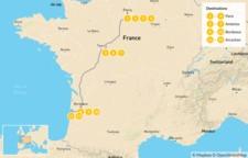 Map thumbnail of Luxury Food and Wine Tour: Paris, Loire Valley, Bordeaux, & Arcachon - 13 Days