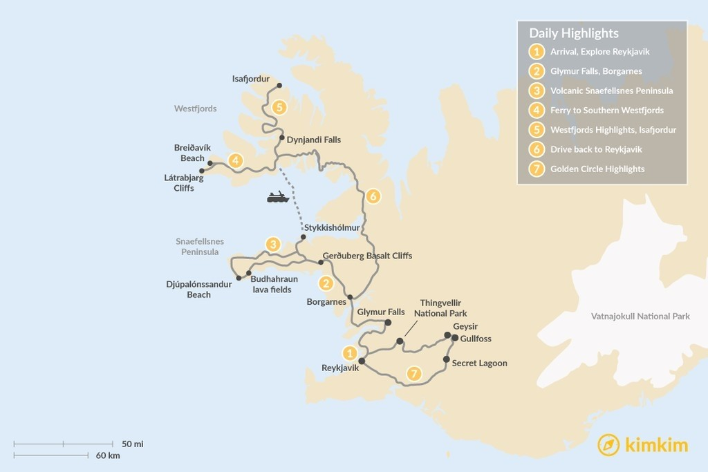 Map of 7 Days Exploring the Snæfellsnes Peninsula, Westfjords, and Golden Circle