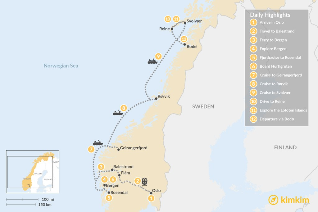 Map of Best of Summer in Norway Tour - 12 Days