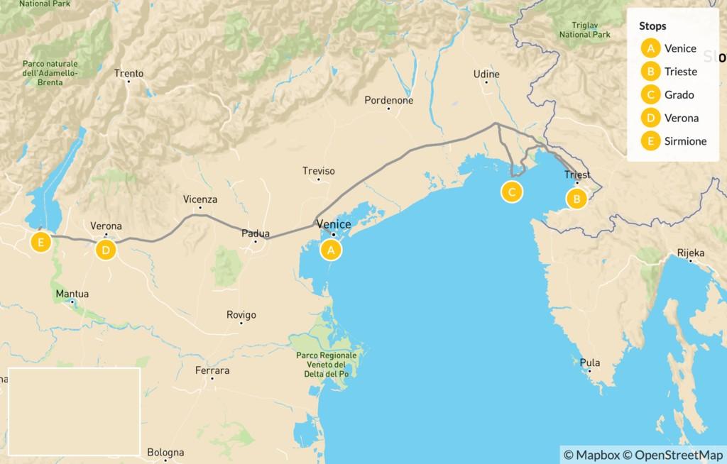 Map of Northeast Italy: Trieste, Venice, Verona, Lake Garda, & More - 13 Days
