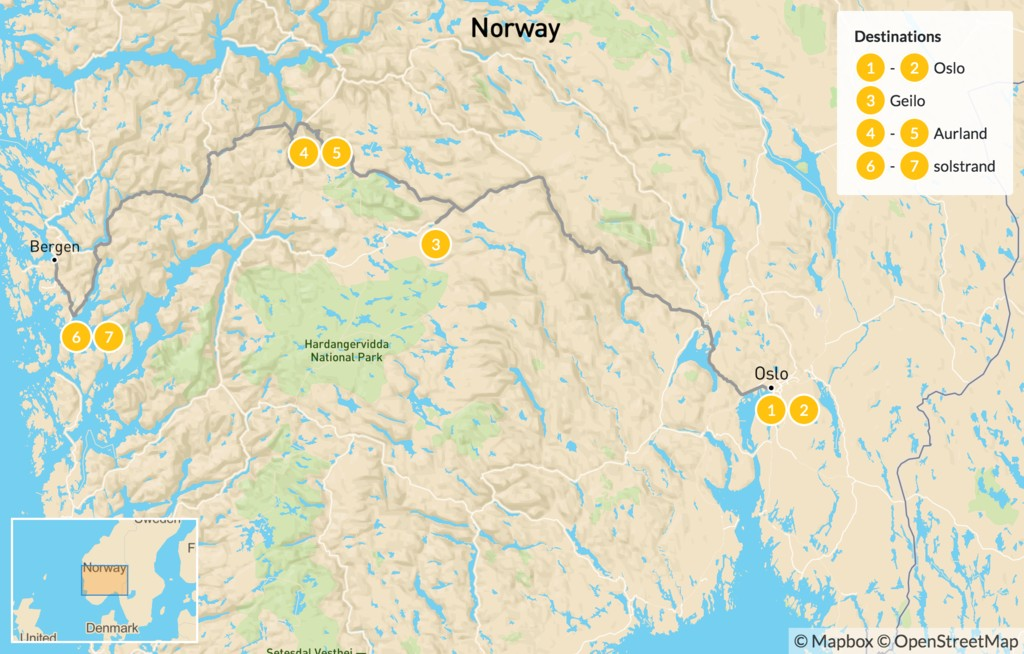 Map of Hiking in Geilo, Aurland & Bergen - 8 Days