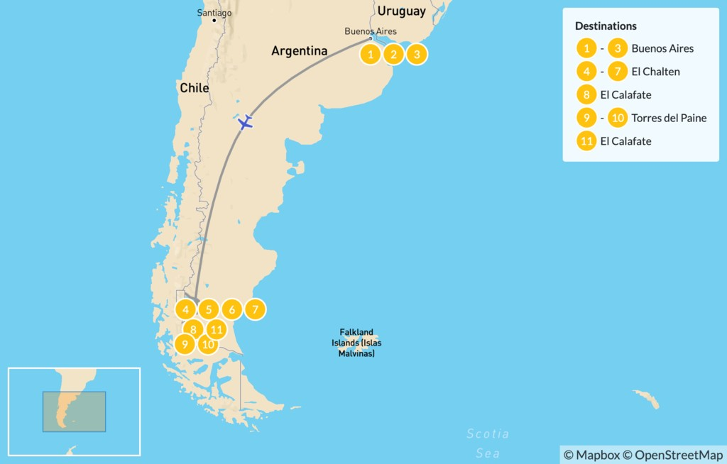 Map of Los Glaciares & Torres del Paine - 12 Days