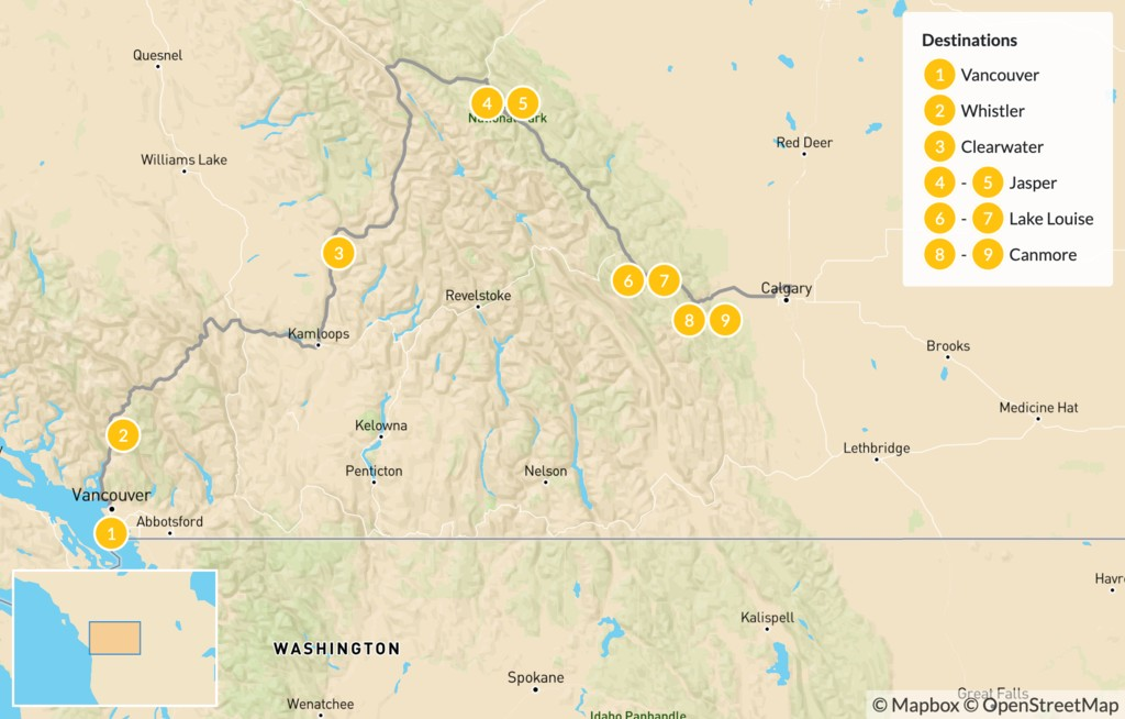 Map of Vancouver to Calgary: Whistler, Wells Gray, & the Canadian Rockies - 10 Days