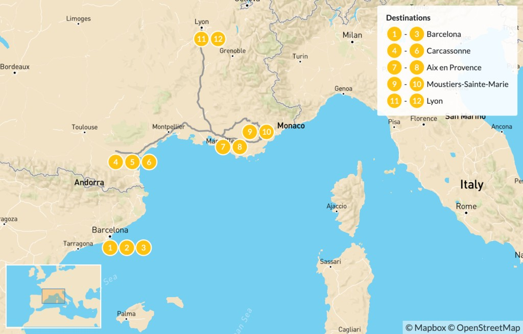 Map of Spain and France Road Trip: Barcelona, Carcassonne, Verdon Gorge, Aix-en-Provence, Lyon, & More - 13 Days