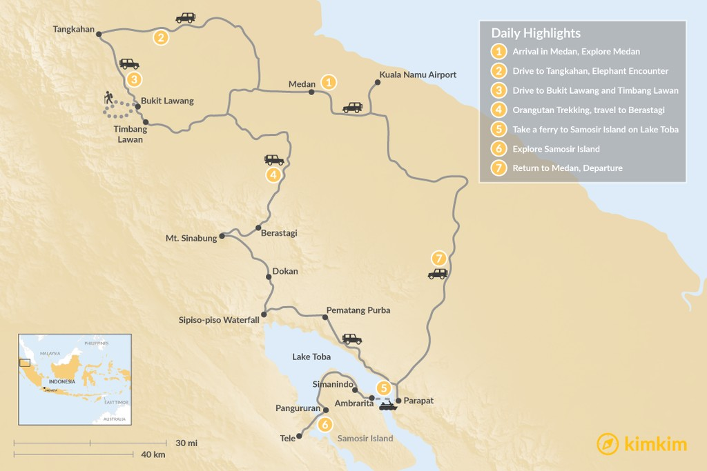 Map of North Sumatra Adventure - 7 Days