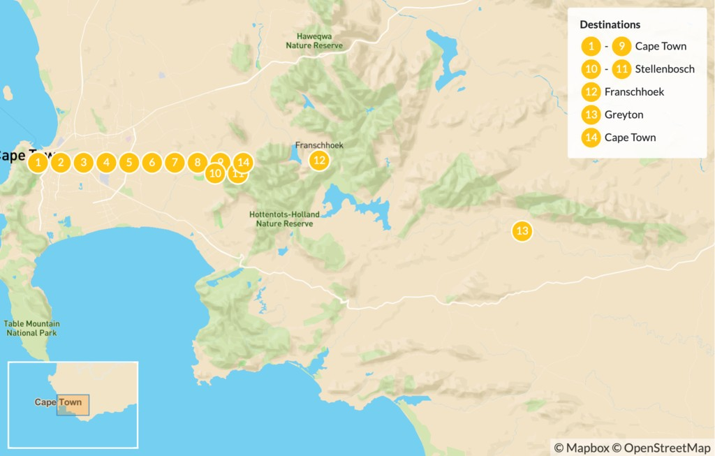 Map of Cape Town Active Adventure - 15 Days