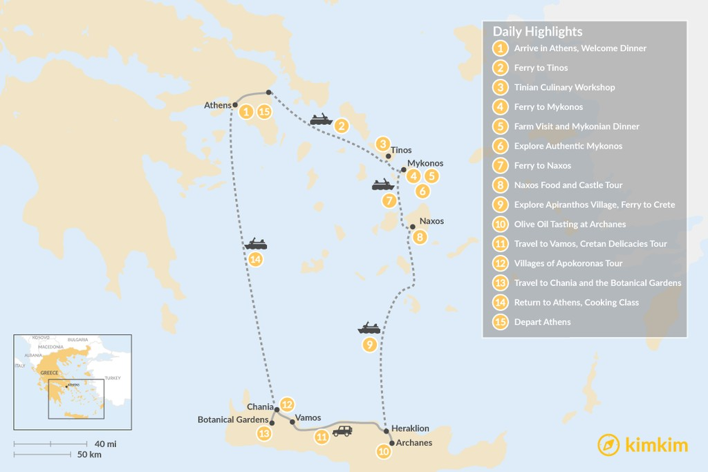 Map of Cyclades & Crete Culinary History Tour - 15 Days