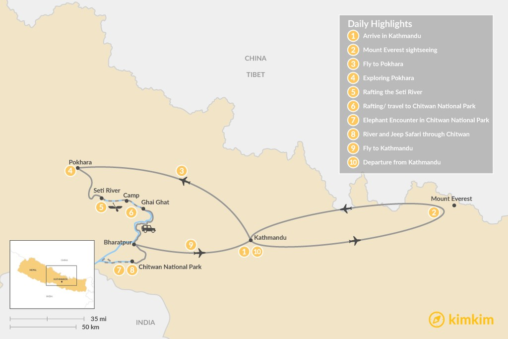 Map of Classic Nepal Adventure: Rafting, Wildlife, and Culture  - 10 Days