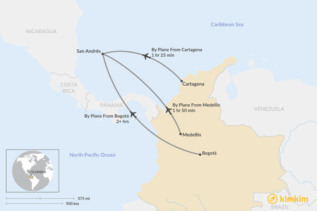 Map of How to Get to San Andrés Island