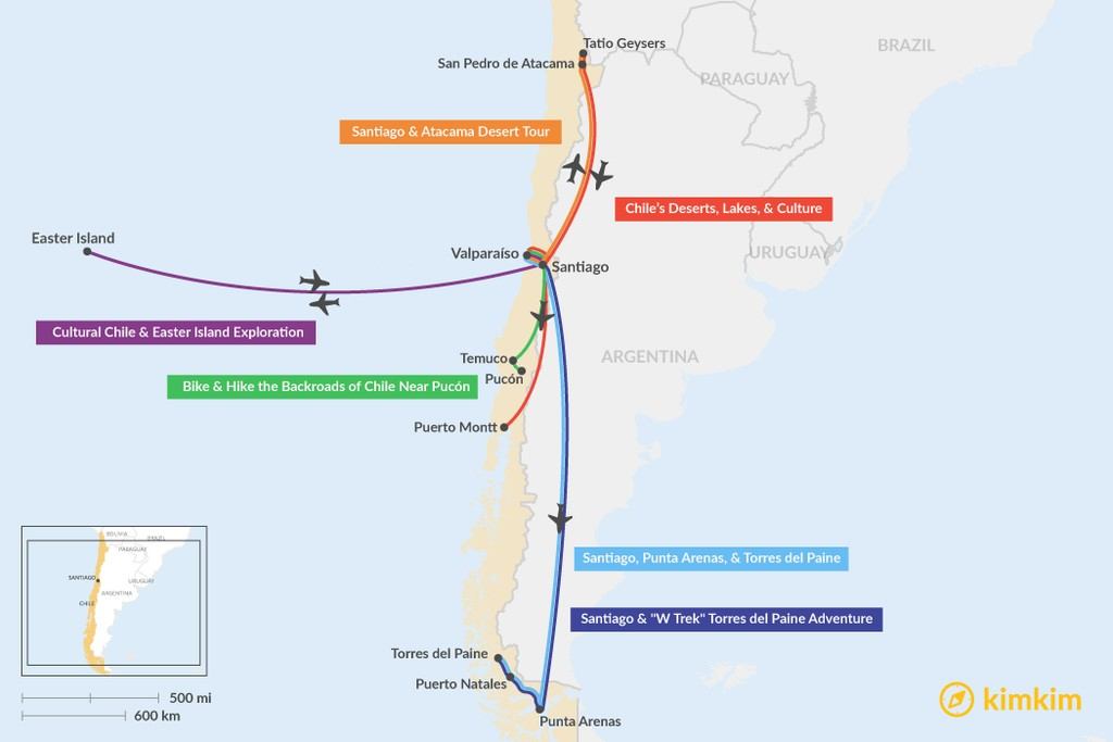 Map of 9 Days in Chile - 6 Unique Itinerary Ideas