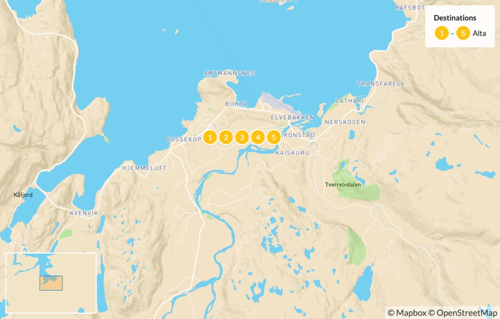 Map of Luxury Arctic Experience in Alta - 6 Days