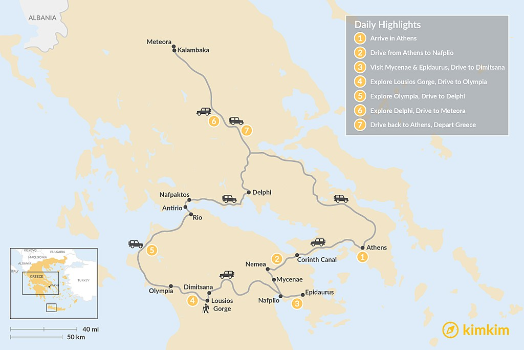 Map of Mainland Greece Adventure - 7 Days