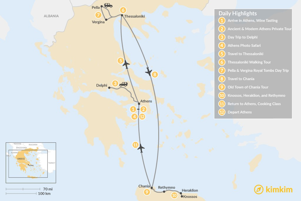 Map of Discover Athens, Thessaloniki & Crete - 12 Days