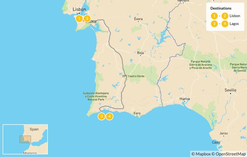 Map of Portugal: Lisbon City & Lagos Coast - 5 Days