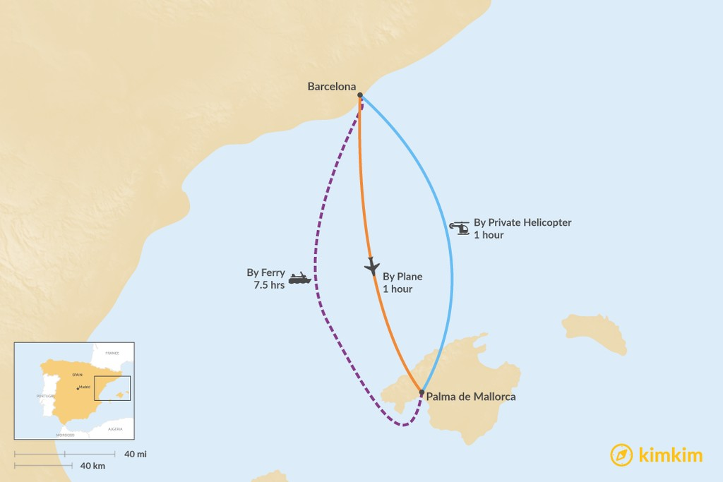 Map of How to Get from Barcelona to Palma de Mallorca