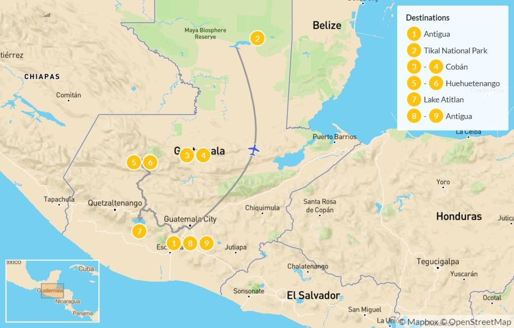 Map of Incredible Guatemala: Antigua, Tikal,  Cobán, & Huehuetenango - 10 Days