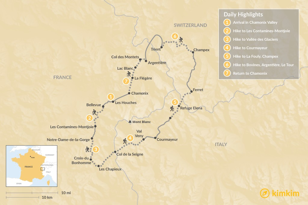 Map of Tour du Mont-Blanc Self Guided Trek - 7 days
