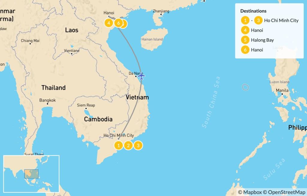 Map of Vietnam South to North: Ho Chi Minh City, Hanoi, Ha Long Bay, Mekong Delta  - 7 Days