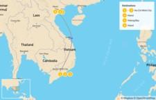 Map thumbnail of Vietnam South to North: Ho Chi Minh City, Hanoi, Ha Long Bay, Mekong Delta  - 7 Days
