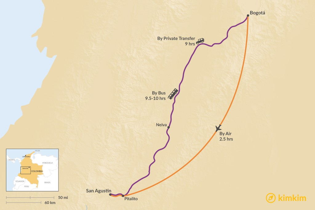 Map of How to Get from Bogotá to San Agustin