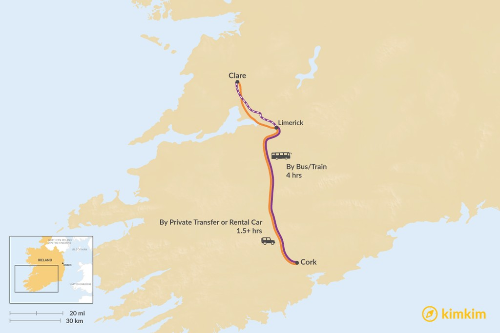 Map of How to Get from County Cork to County Clare