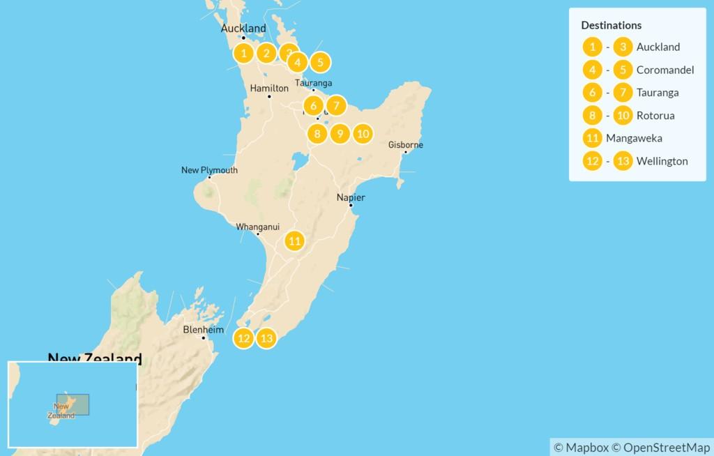 Map of North Island Adventure: Auckland, Coromandel Peninsula, Tauranga, Rotorua, Wellington, & More - 14 Days