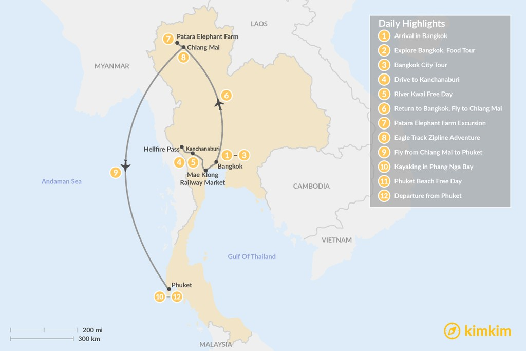 Map of Thailand Authentic Grand Tour - 12 Days