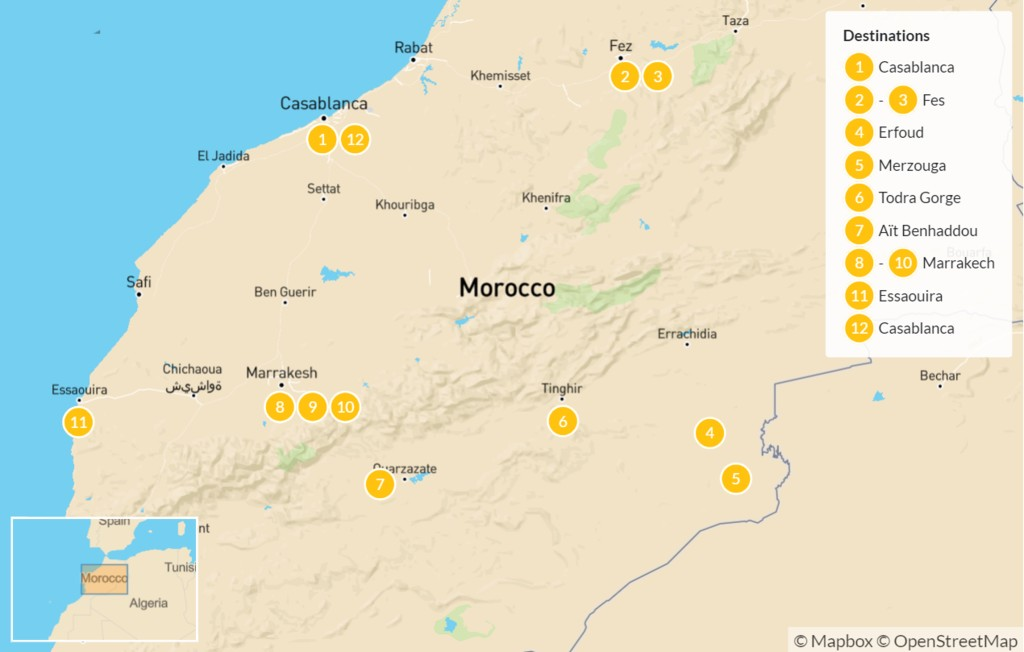 Map of Morocco's Imperial Cities & the Sahara Desert - 13 Days