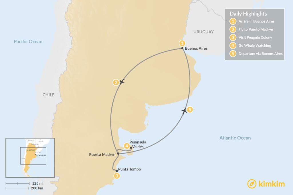 Map of Puerto Madryn Adventure - 5 days