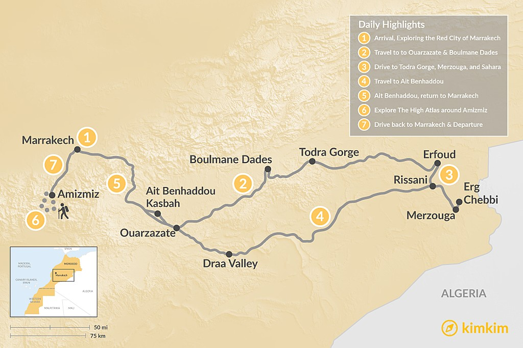 Map of Marrakech, Grand Desert Tour & Hiking in the Atlas Mountains - 7 Days