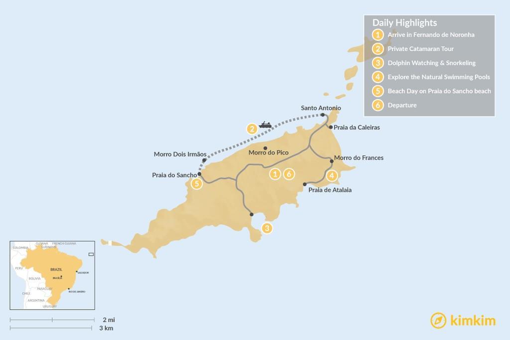 Map of Brazil's Fernando de Noronha Island - 6 Days