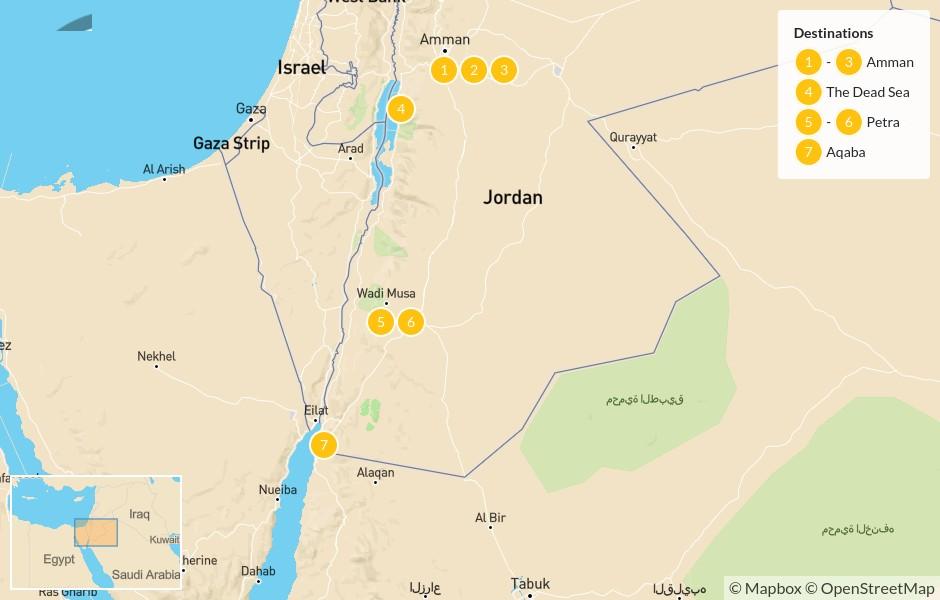 Map of Highlights of Jordan: Amman, The Dead Sea, Petra, & Aqaba - 8 Days