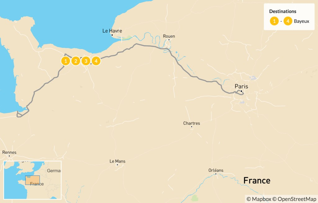 Map of Normandy Coast Excursion - 5 Days