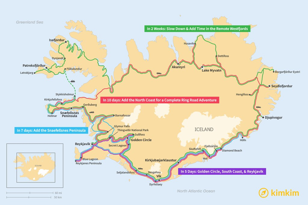 Map of Ultimate Iceland Itineraries: 5, 7, 10 & 14 Days