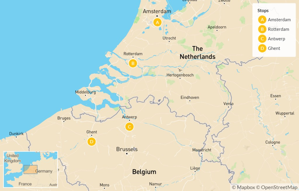 Map of Highlights of Holland & Flanders - 7 Days
