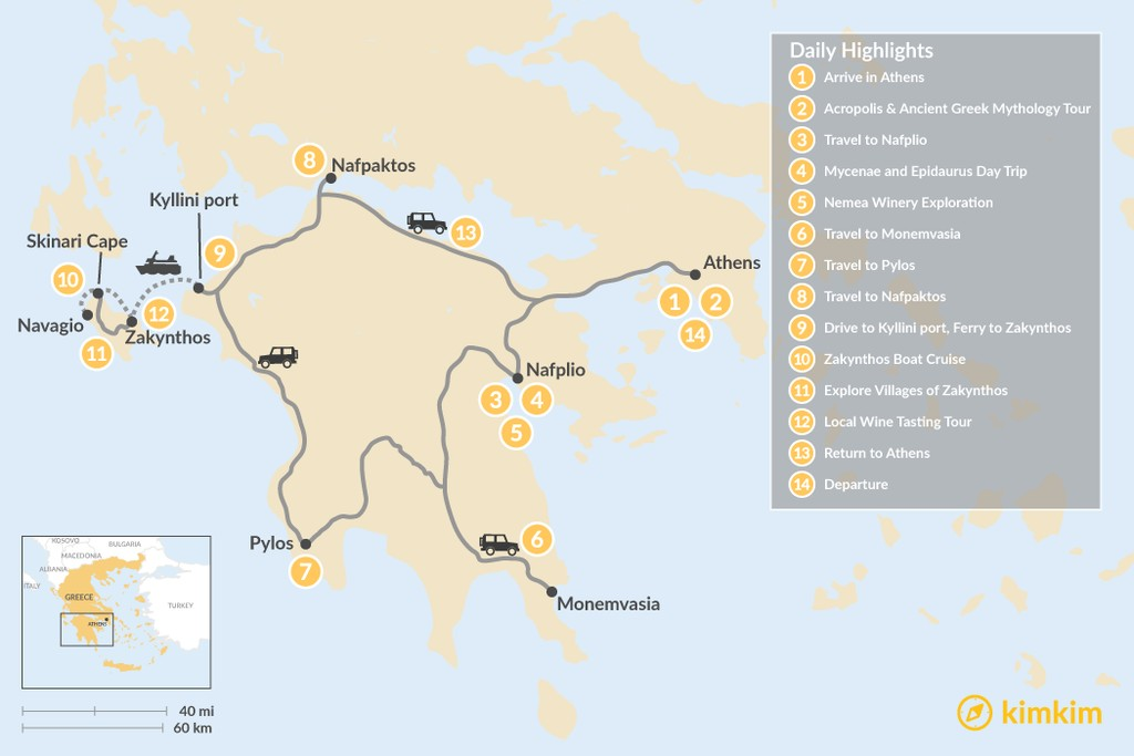 Map of Historic Peloponnese and Zakynthos - 14 Days