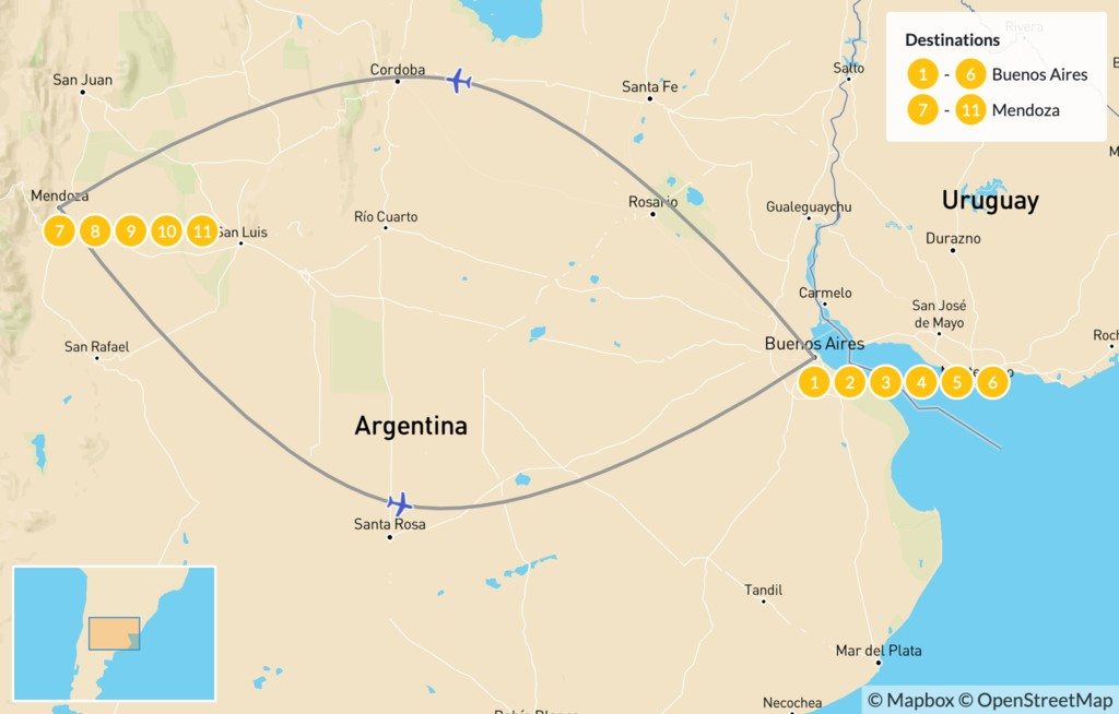 Map of Buenos Aires & Mendoza - 12 Days