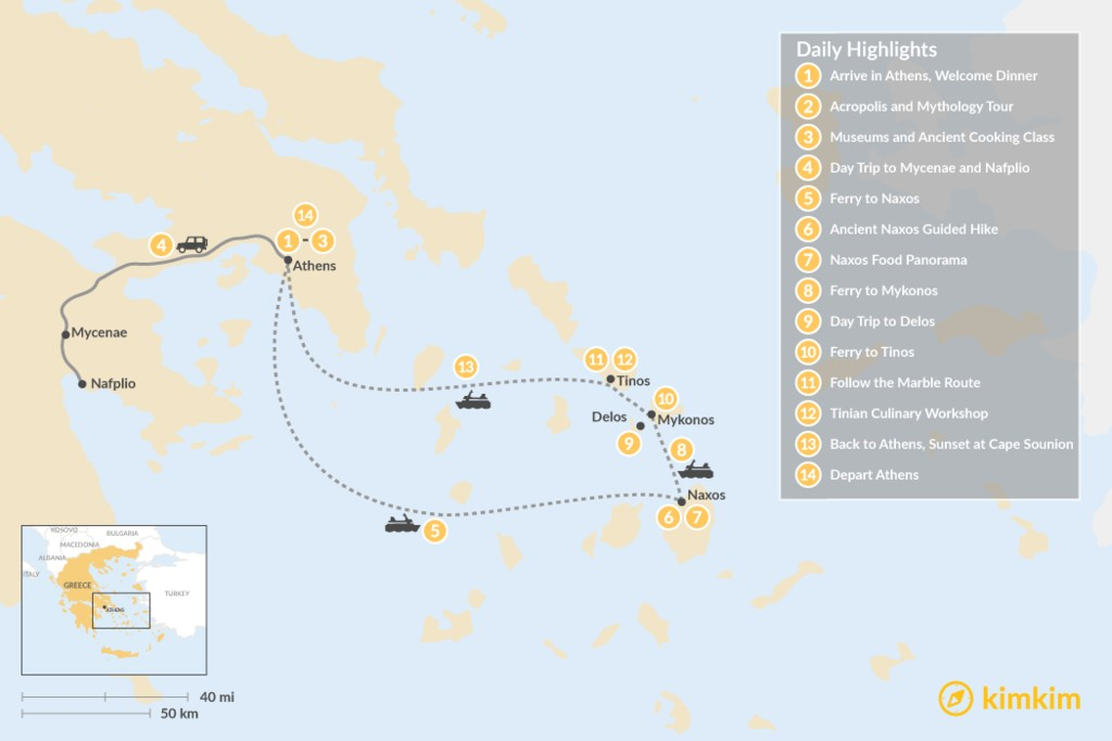 Map of Past and Present in Athens, Tinos, Mykonos & Naxos - 14 Days