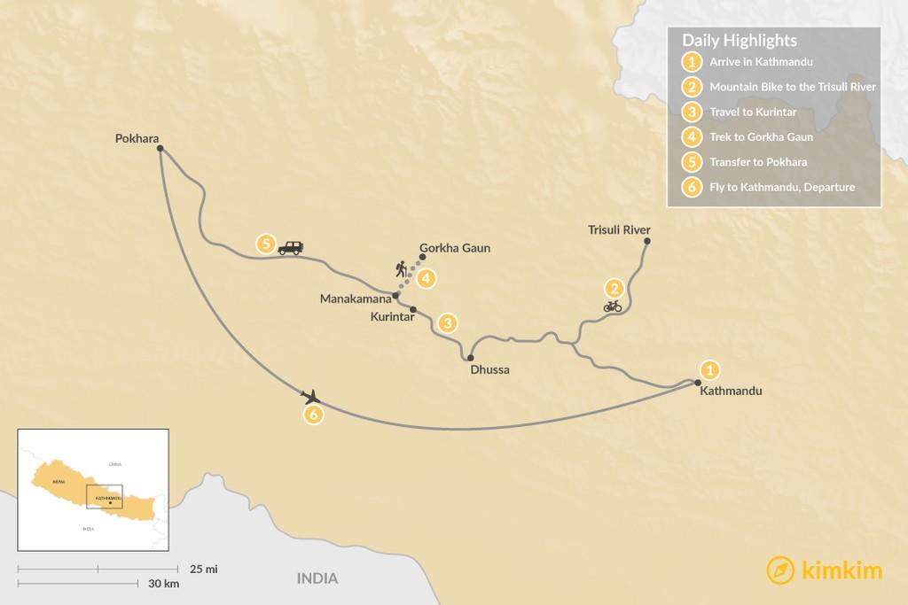 Map of Nepal Multi-Sport Adventure - 6 Days