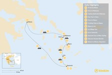 Map thumbnail of Cultural Cyclades: Mykonos, Naxos, Ios, Santorini - 12 Days