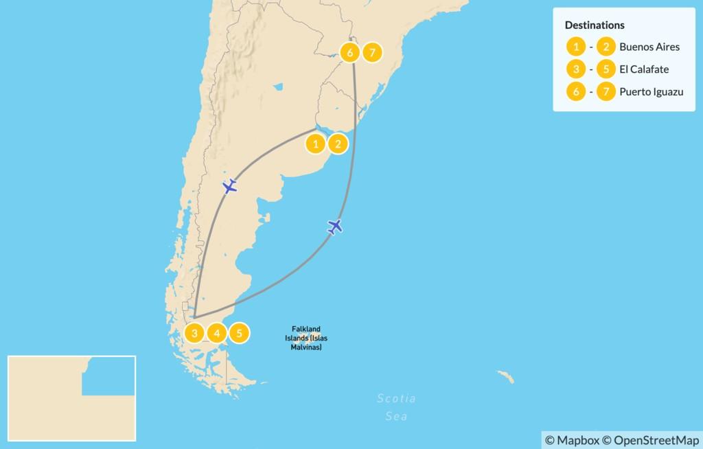 Map of Classic Argentina: Patagonia & Iguazú - 8 Days