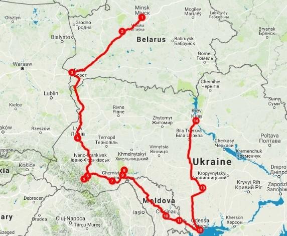 Map of Best of Belarus, Moldova & Ukraine - 16 Days